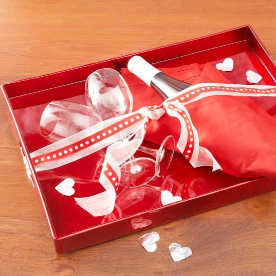 Champagne på en Valentine bakke