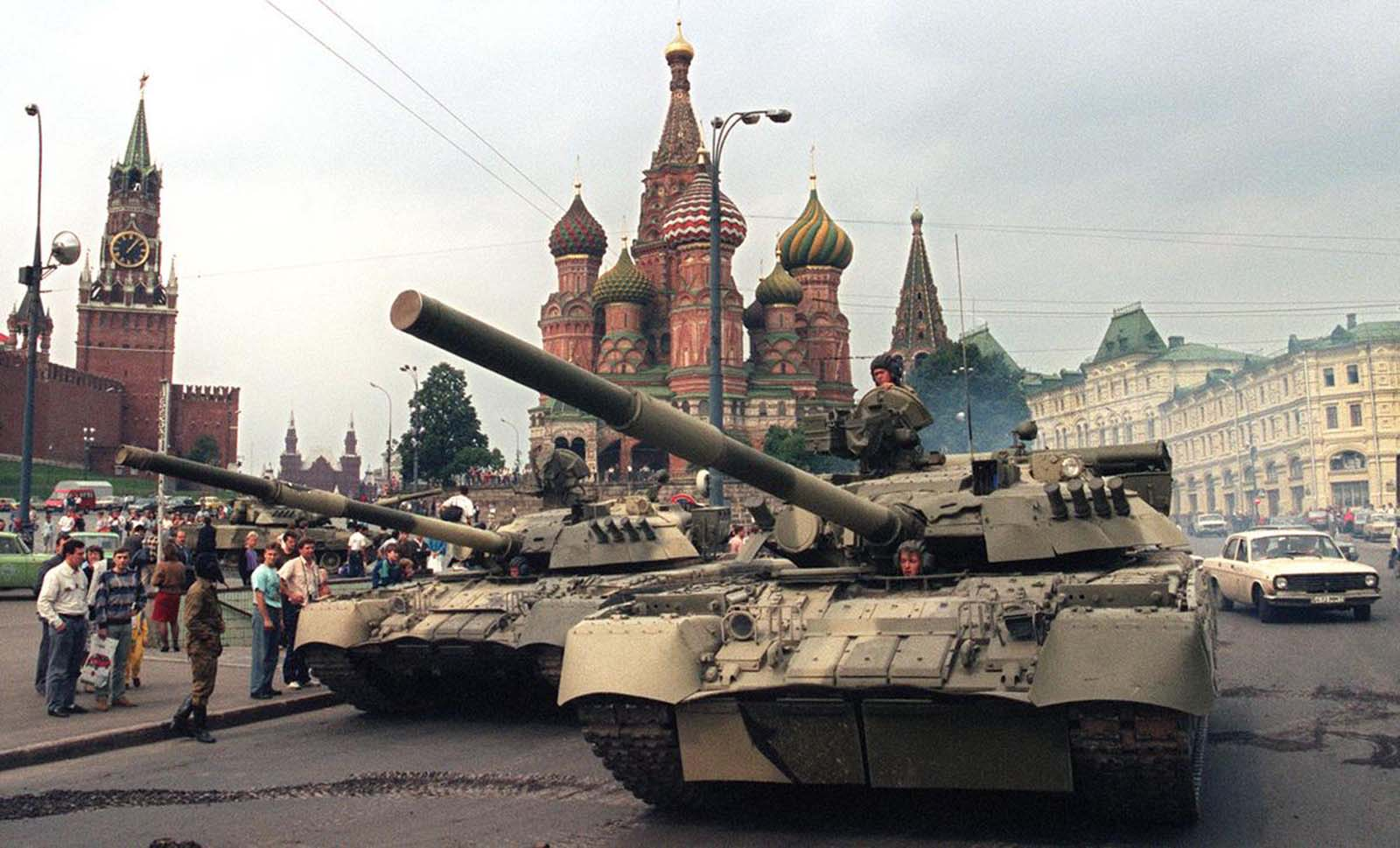 Soviet Army tanks parked near Spassky Gate, an entrance to the Kremlin and Basil's Cathedral in Moscow's Red Square after a coup toppled Soviet President Mikhail Gorbachev on August 19, 1991. Tanks rolled through Moscow towards the Russian White House, where Boris Yeltsin, leader of the Soviet-era Russian republic at the time, gathered his supporters after denouncing the coup.