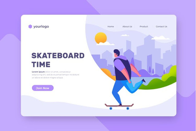Outdoor Sport Landing Page With Man on Skateboard
