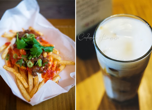 Left: Chili Cheese Fries | Right: Iced Cappuccino