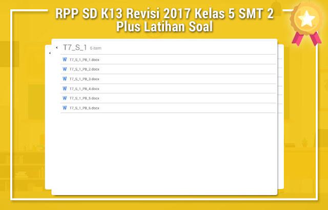 RPP SD K13 Revisi 2017 Kelas 5 Semester 2 Plus Latihan Soal
