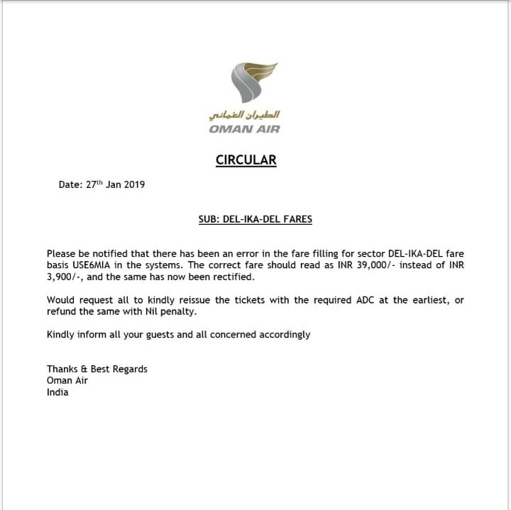 Sad News Oman Air Not To Honor Delhi Tehran Low Fare