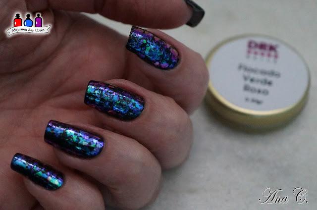 DRK Nails, flocado verde roxo, flocado mutichrome