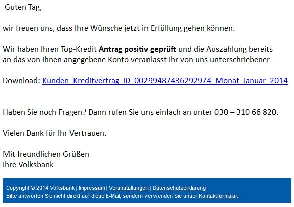 phishing mail alerts ihr kreditantrag bei der volksbank. Black Bedroom Furniture Sets. Home Design Ideas