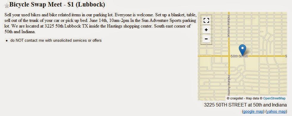 Mesquite Hugger: Lubbock DIY Bicyclists: Mark Your Calendar