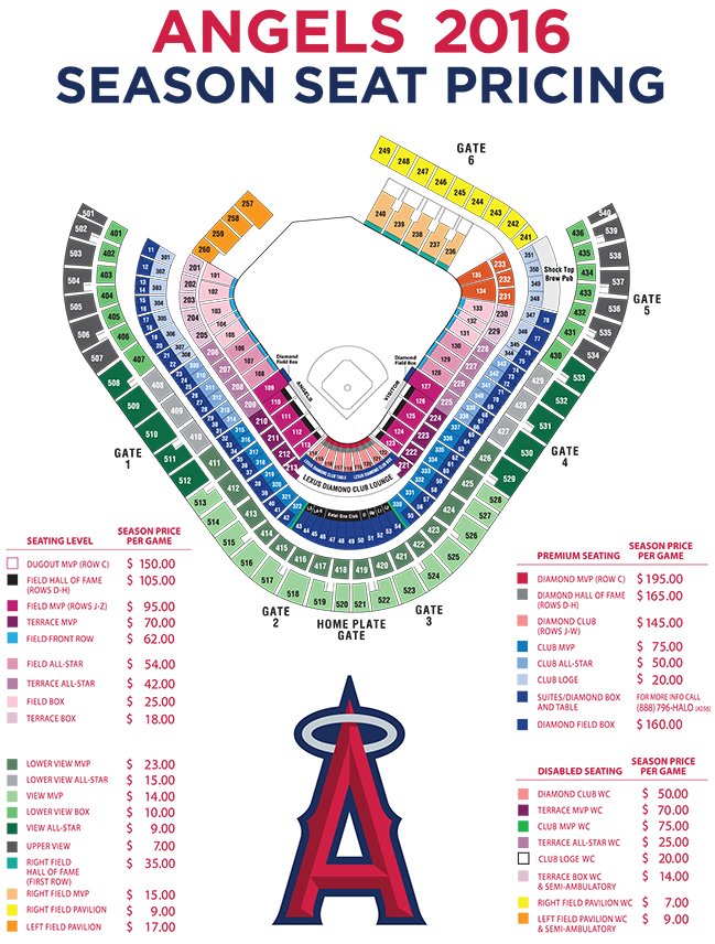 angels stadium seating chart - Seating Map Los Angeles Angels