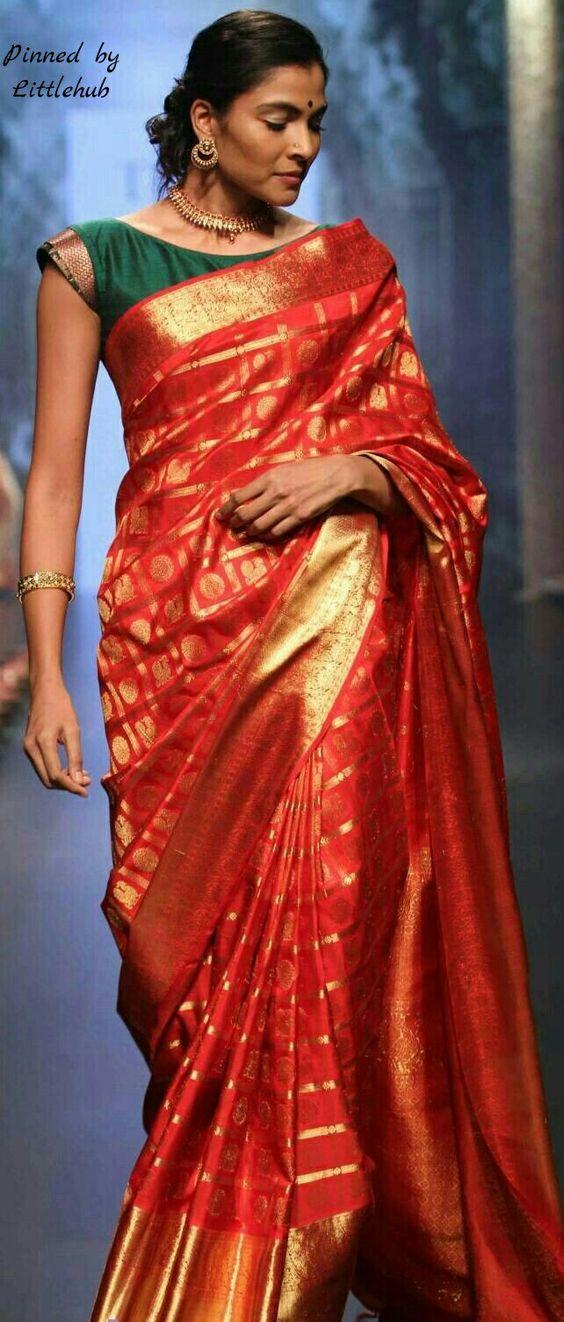 12fc6adb570fb4 25 Latest Silk Saree Blouse Designs for wedding season   Bling Sparkle