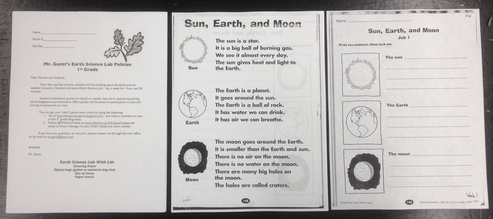mr gantt 39 s earth science lab blog 1st grade week 1 sun earth moon. Black Bedroom Furniture Sets. Home Design Ideas