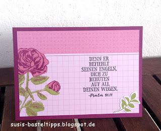 """Karten mit """"Erinnerungen und mehr"""" Blumengarten von Stampin' Up! Demonstratorin in Coburg, calypso, flüsterweiß, himbeerrot, olivgrün"""