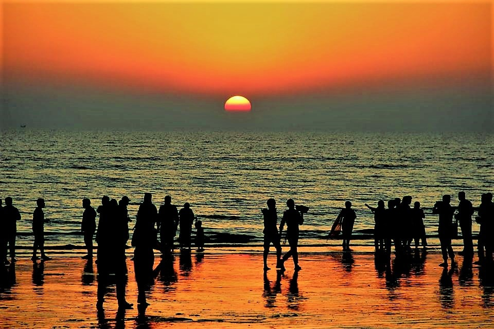 Sunset at Coxs Bazar sea beach