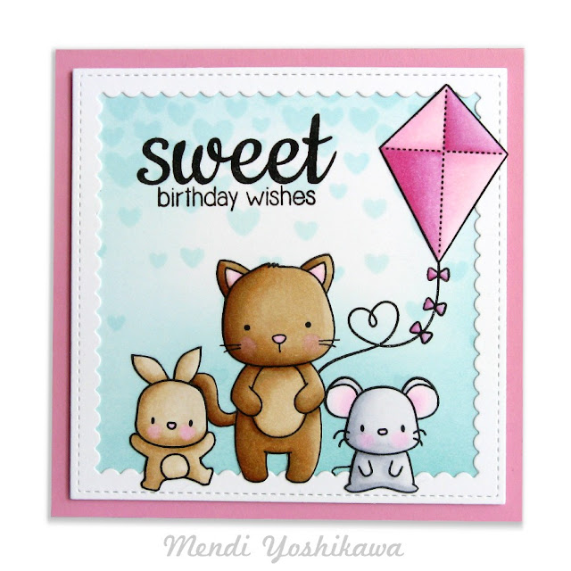 Neat & Tangled Kitty's Favorite Things & Mama Elephant Lunar Animals Birthday Card by Mendi Yoshikawa