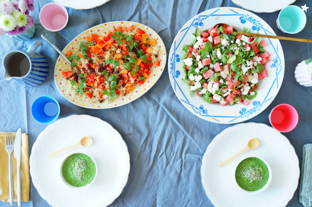 salade pastèque feta salade quinoa poivron soupe crue repas complet manger sain