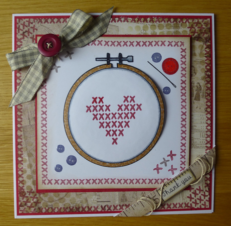 Thank you cross-stitch Card using Woodware products