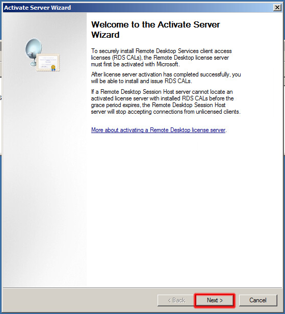 Welcome to the Activate Server Wizard.