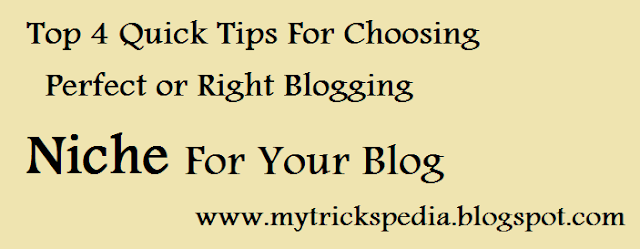 How to Choose Perfect Blogging Niche For Your Blog - top 4 Quick Tips