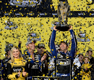 Jimmie Johnson celebrates his sixth NASCAR Sprint Cup Series title in eight years.