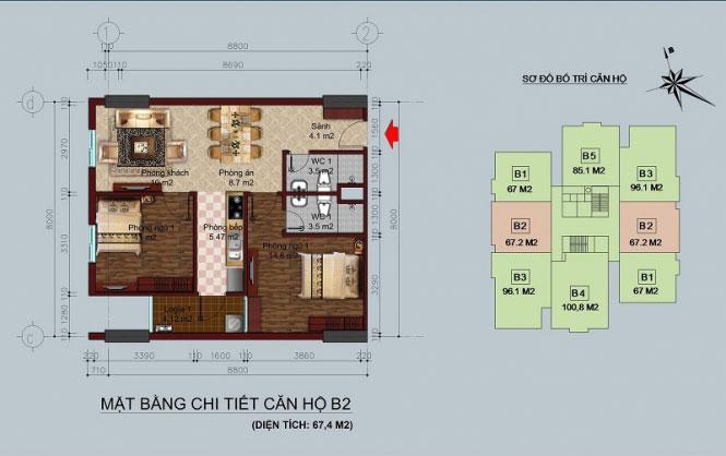 Mặt bằng căn hộ 67m2 Chung cư b1 b2 Linh Đàm