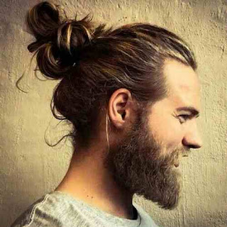 Slim Face Men Long Hairstyle with Long Beard Style