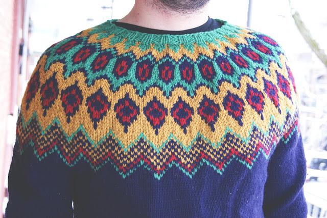 Chandail tricoté pour homme avec col en jacquard - détail