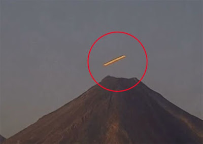 The UFO was seen darting around the mouth of the volcano  Planet-Today.com