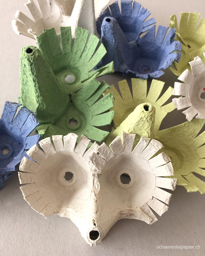 Schaeresteipapier Vogelmasken Aus Eierkarton