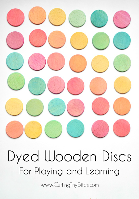 Beautiful dyed colored discs for toddlers, preschoolers, or elementary children.  Great as a math manipulative or as an imagination prop.  Beautiful natural homemade toy, perfect for Waldorf or Montessori methods.