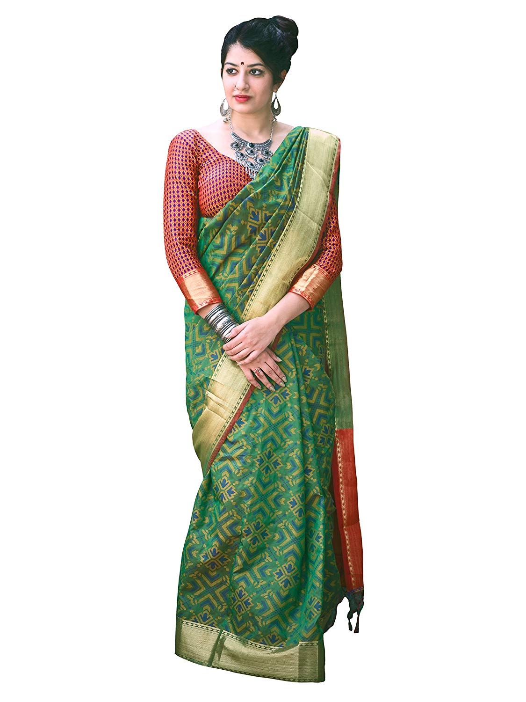 Applecreation Women'S Patola Silk Saree With Blouse Piece (14)