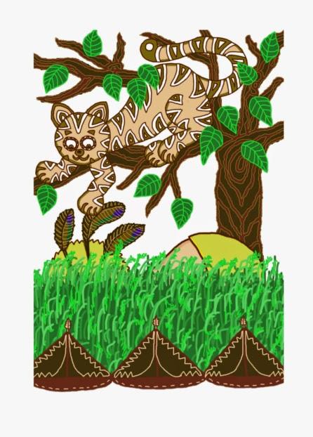 Digitális rajzon Tiplis Térd, a hadiösvényre lépett indián törzsfőnök cserkészi be a fán nyávogó bölényt, skalpján három kacsatollal, fürdőnadrágban.