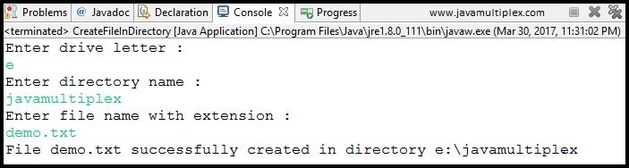 Output of Java program that creates a new file in given directory.