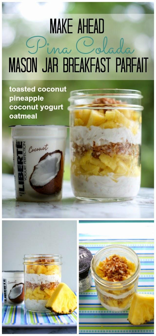 Make Ahead Mason Jar Pina Colada Breakfast Parfait | thetwobiteclub.com | #yogurtperfection #makeahead #healthy #ad