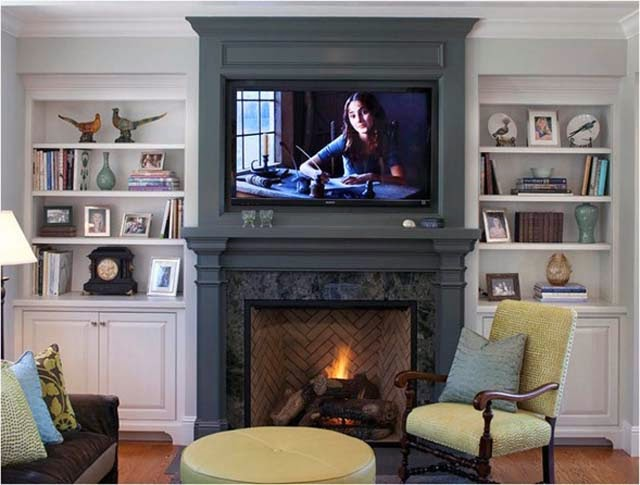 fireplace mantel and bookshelves plans