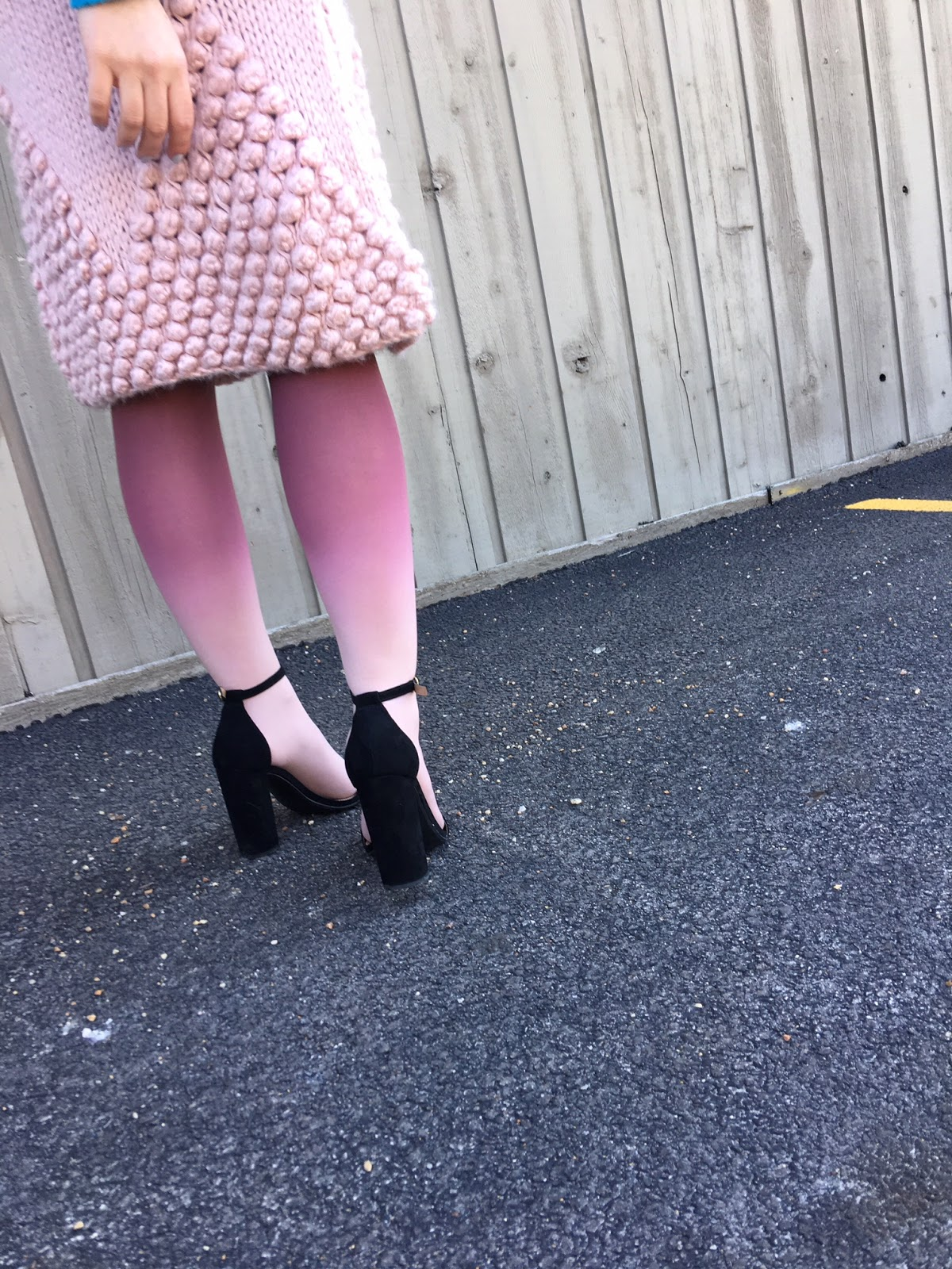 pink ombre tights and a pink sweater skirt