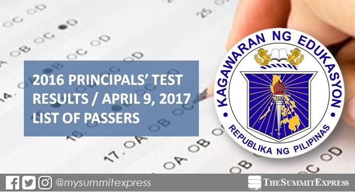 April 2017 Principals' Test results NQESH 2016