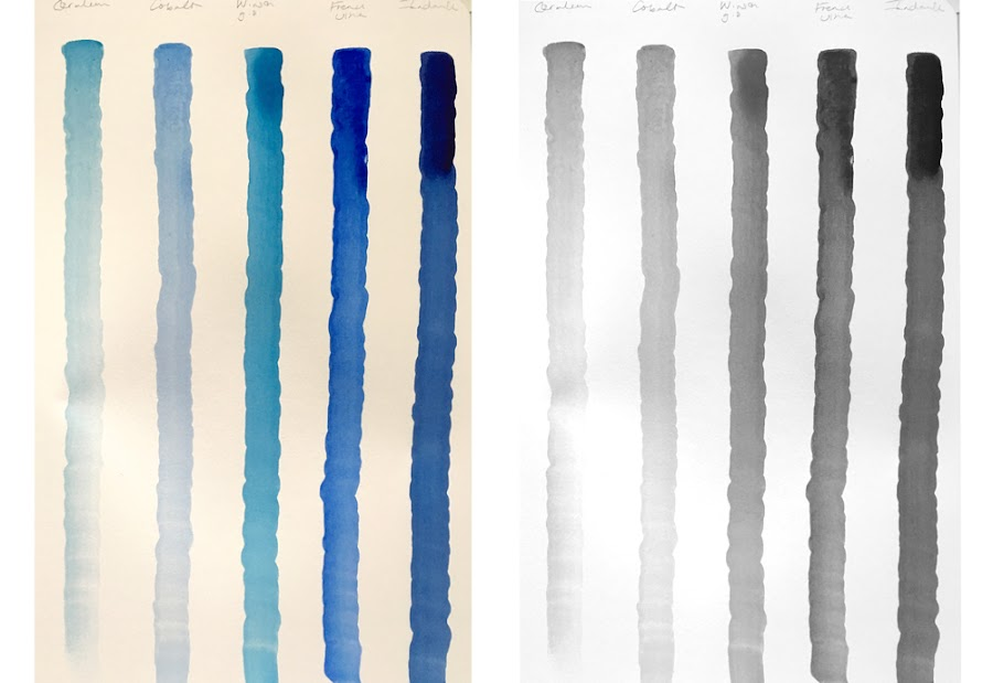 tonal value of blue paint painted