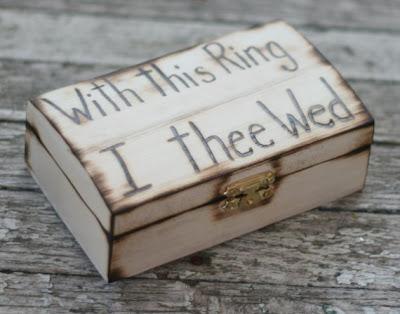 rustic wooden ring bearer box
