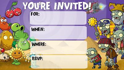 plants vs zombies free printable invitations