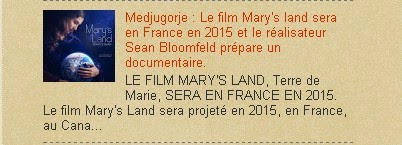 Medjugorje : Le film Mary's land sera en France en 2015