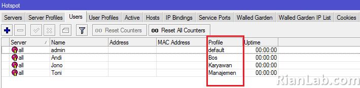Hotspot User Account Mikrotik