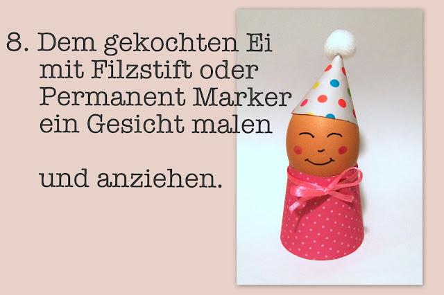 egg people Bastelanleitung Eierbecher aus Papier Osterdeko Tutorial Hüte Kleidung DIY