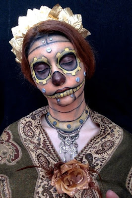 steampunk skeleton makeup / steampunk face painting skeleton with gears