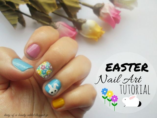 Easter Nail Art Tutorial : Bunny, Flowers