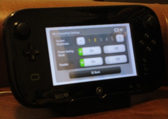 Nintendo Wii U GamePad charging cradle AC adapter settings