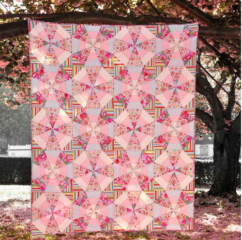 Whirl Kaleidoscope Quilt Free Pattern designed by Mary McGuire