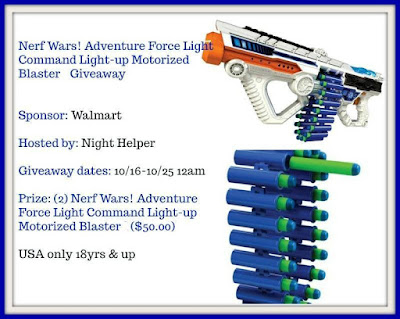Enter the Nerf Wars! Adventure Force Light Command Light-up Motorized Blaster Giveaway. Ends 10/24