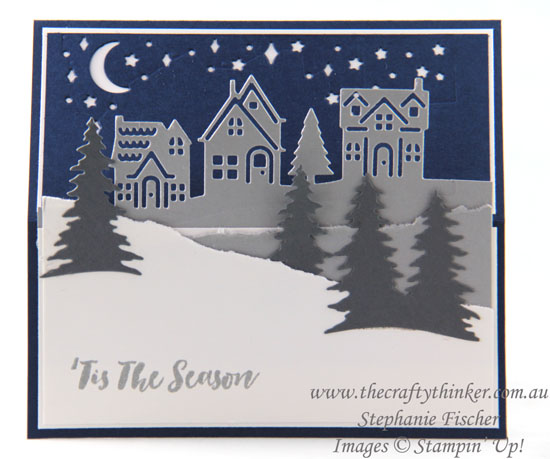 #thecraftythinker, #christmascarad, #cardmaking, #stampinup, #easelcard, #funfold, Christmas Card, Easel card, Card Front Builder, Hometown Greetings, Christmas Staircase, Stampin' Up Australia Demonstrator, Stephanie Fischer, Sydney NSW