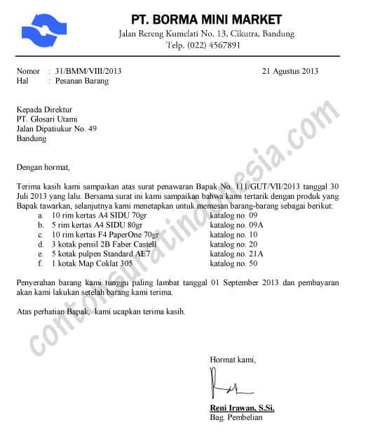 Contoh Surat Permintaan Penawaran Dan Balasannya