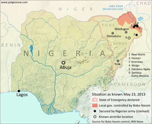 Map of Boko Haram control in northeastern Nigeria, and progress made by the government after declaring a state of emergency and launching a military campaign against the rebels in May 2013.