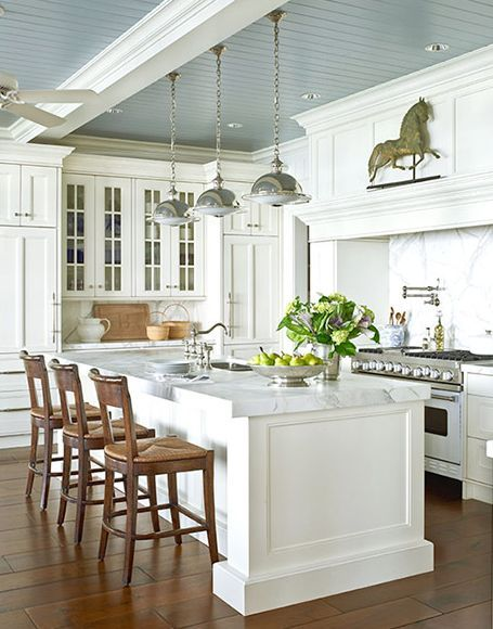 Blue in the kitchen is on our minds...and not just for the cabinets. Consider a blue ceiling and a wealth of more #kitchendesign ideas in this story.