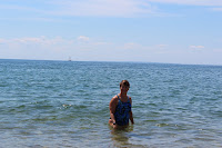 Swimming at finishing beach in Provincetown, Herring Cove