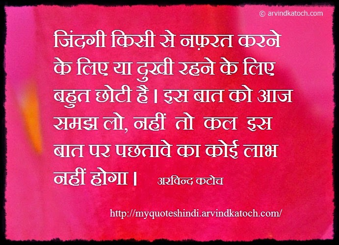 Life Is Too Short To Hate Someone Hindi Quote जदग
